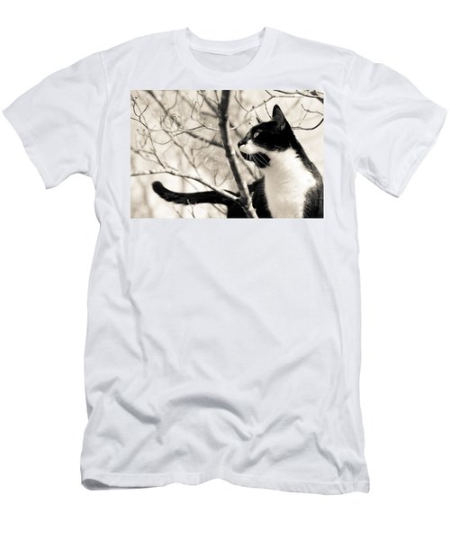 Cat In A Tree In Black And White Men's T-Shirt (Athletic Fit)
