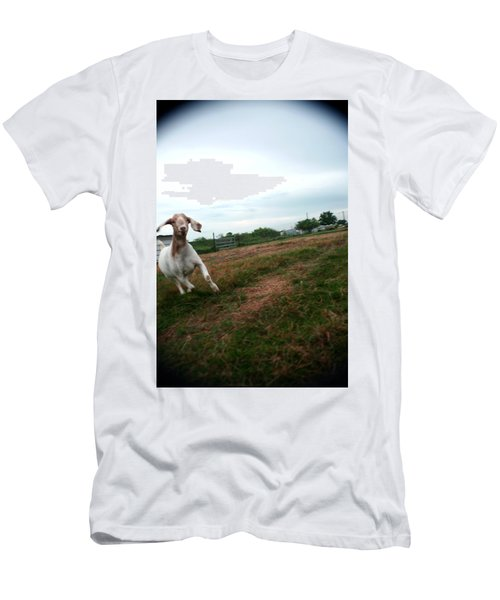 Men's T-Shirt (Slim Fit) featuring the photograph Chased By A Crazy Goat by Lon Casler Bixby
