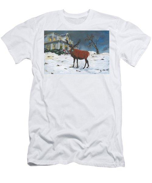 Christmas Elk Men's T-Shirt (Athletic Fit)