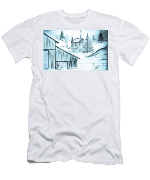 Men's T-Shirt (Slim Fit) featuring the drawing Colorado Farm by Shannon Harrington