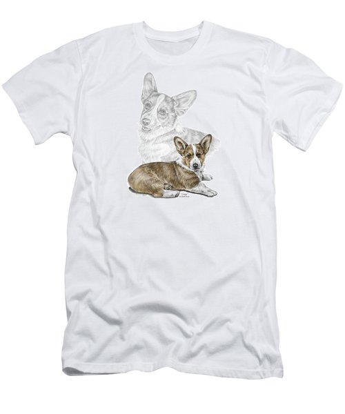 Men's T-Shirt (Slim Fit) featuring the drawing Corgi Dog Art Print Color Tinted by Kelli Swan