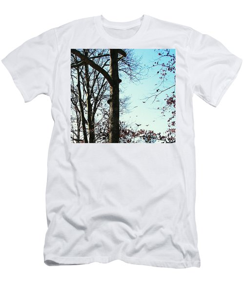 Men's T-Shirt (Slim Fit) featuring the photograph Crows In For Landing by Pamela Hyde Wilson