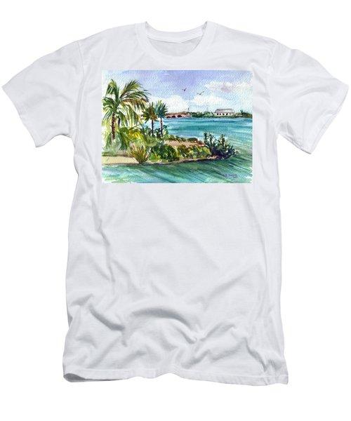 Men's T-Shirt (Slim Fit) featuring the painting Cudjoe Key Bridge by Clara Sue Beym
