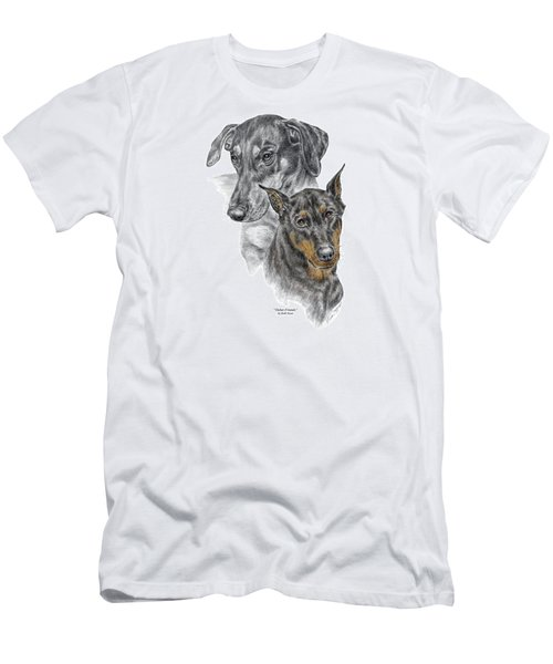 Dober-friends - Doberman Pinscher Portrait Color Tinted Men's T-Shirt (Athletic Fit)