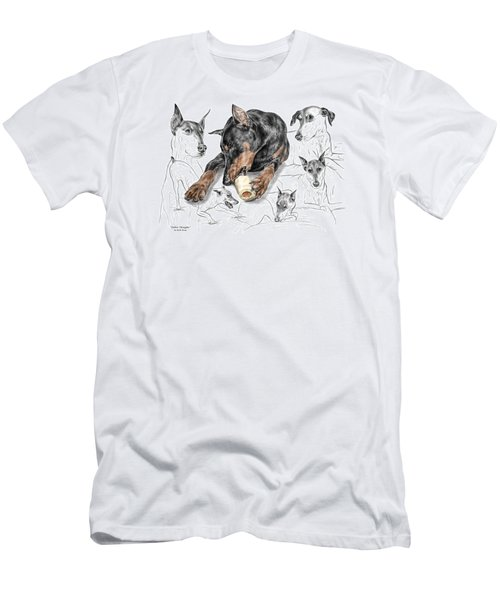 Men's T-Shirt (Slim Fit) featuring the drawing Dober-thoughts - Doberman Pinscher Montage Print Color Tinted by Kelli Swan