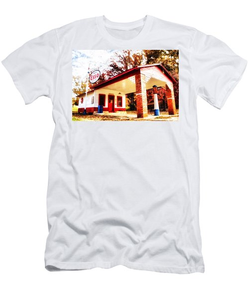 Men's T-Shirt (Slim Fit) featuring the painting Esso Filling Station by Lynne Jenkins