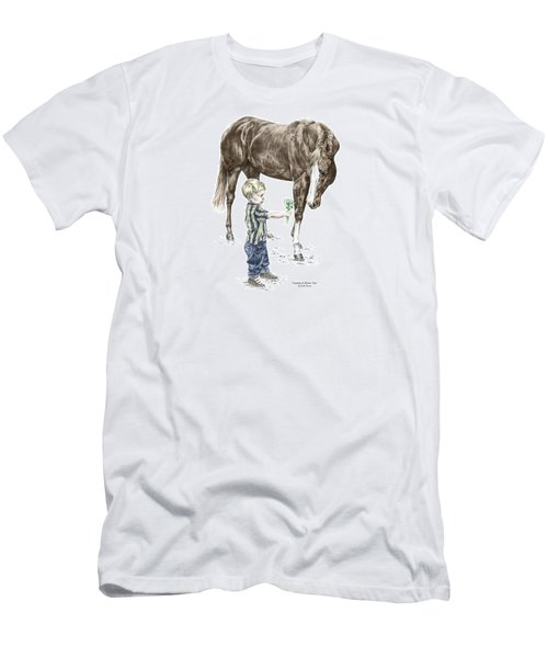 Men's T-Shirt (Slim Fit) featuring the drawing Getting To Know You - Boy And Horse Print Color Tinted by Kelli Swan