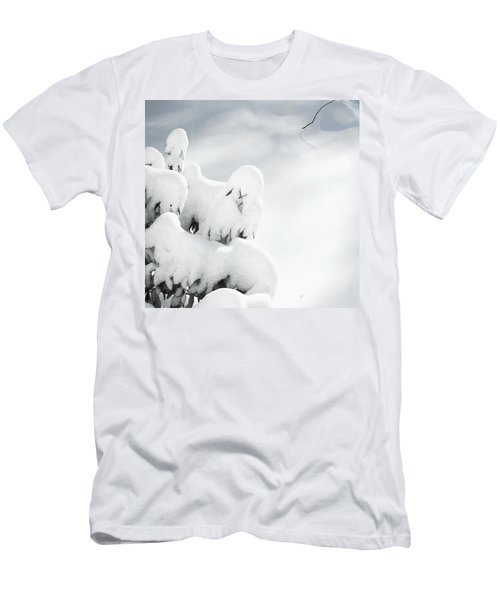 Men's T-Shirt (Slim Fit) featuring the photograph Ghostly Snow Covered Bush by Pamela Hyde Wilson