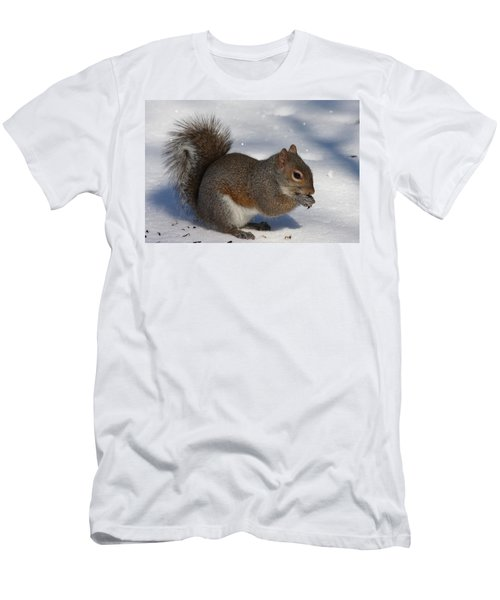 Gray Squirrel On Snow Men's T-Shirt (Athletic Fit)