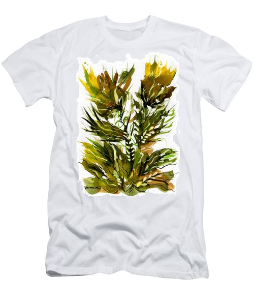 Green Flames Men's T-Shirt (Slim Fit) by Rachel Hershkovitz