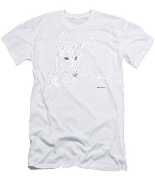 Men's T-Shirt (Slim Fit) featuring the drawing Greyhound by George Pedro