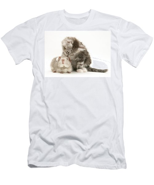 Guinea Pig And Kitten Men's T-Shirt (Athletic Fit)