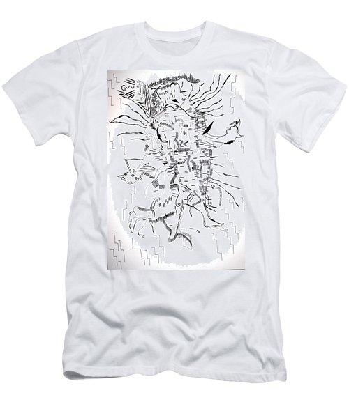 Men's T-Shirt (Slim Fit) featuring the drawing Gule Wamkulu - Malawi by Gloria Ssali