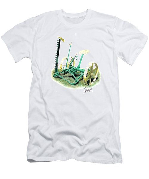 Men's T-Shirt (Slim Fit) featuring the painting Hay Cutter by Ferrel Cordle