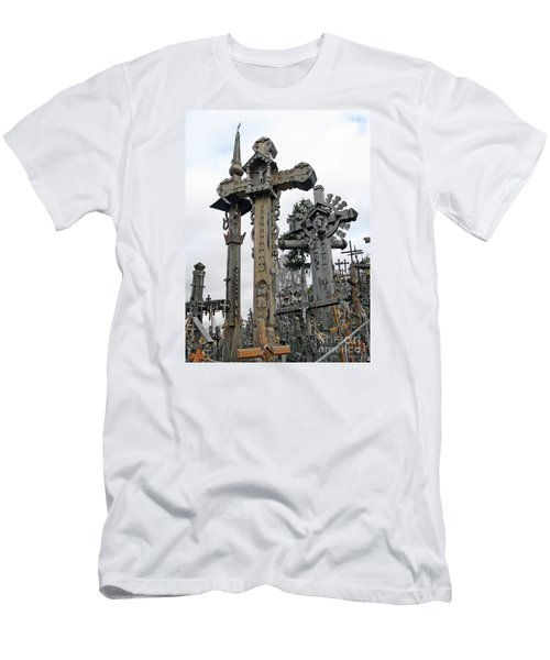 Hill Of Crosses 09. Lithuania Men's T-Shirt (Slim Fit) by Ausra Huntington nee Paulauskaite