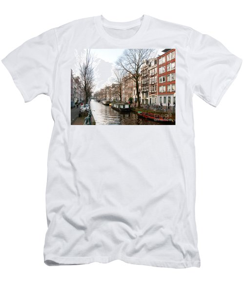 Homes Along The Canal In Amsterdam Men's T-Shirt (Slim Fit) by Carol Ailles