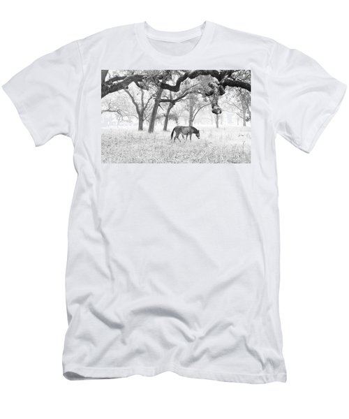 Men's T-Shirt (Slim Fit) featuring the photograph Horse In Foggy Field Of Oaks by CML Brown