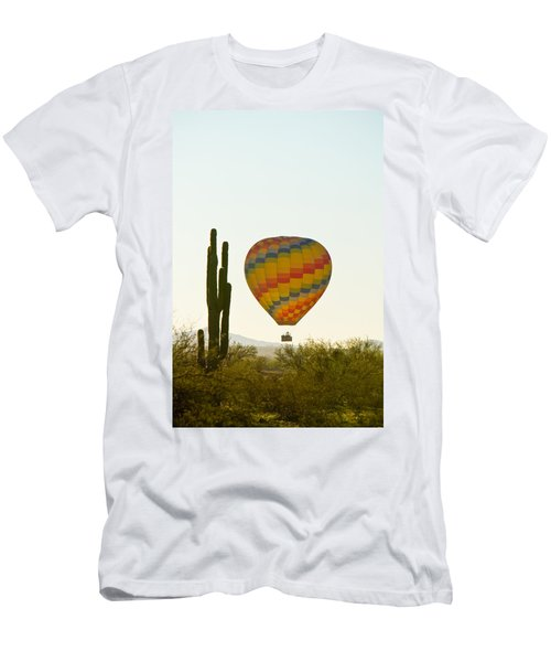 Hot Air Balloon In The Arizona Desert With Giant Saguaro Cactus Men's T-Shirt (Athletic Fit)
