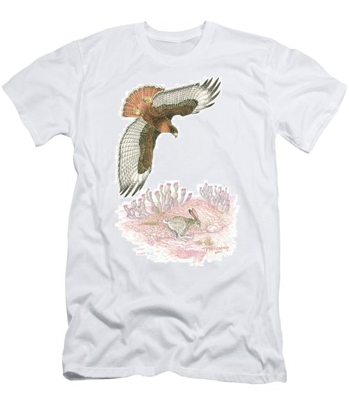 Last Tracks- Redtail With Jackrabbit Men's T-Shirt (Athletic Fit)