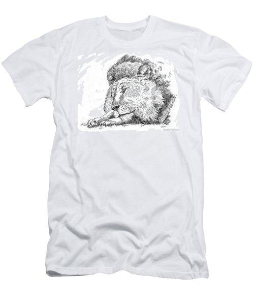 Lion-art-black-white Men's T-Shirt (Athletic Fit)