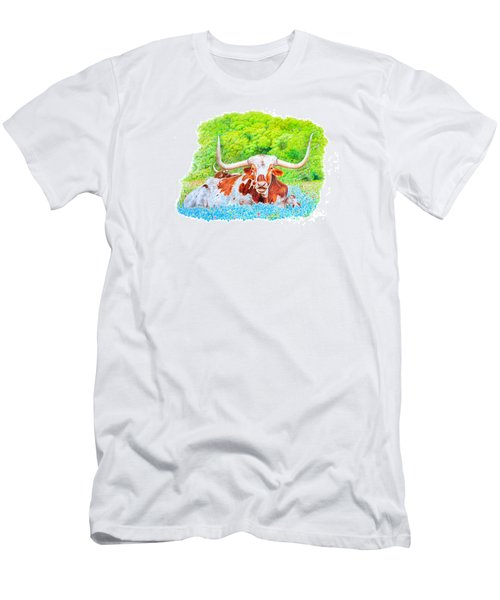 Men's T-Shirt (Slim Fit) featuring the drawing Longhorns In Bluebonnets by Mike Ivey
