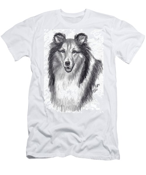Men's T-Shirt (Slim Fit) featuring the drawing Looks Like Lassie by Julie Brugh Riffey