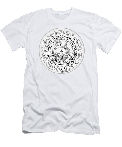 Mermaid In Black And White Round Circle With Water Fish Tail Face Hands  Men's T-Shirt (Slim Fit) by Rachel Hershkovitz