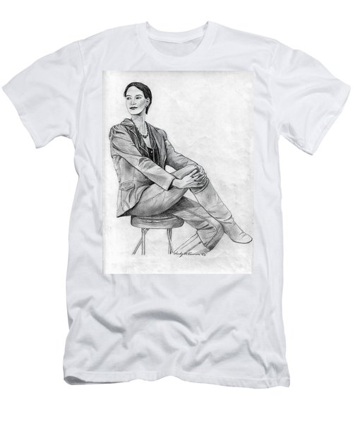 Men's T-Shirt (Slim Fit) featuring the drawing Model by Wendy McKennon