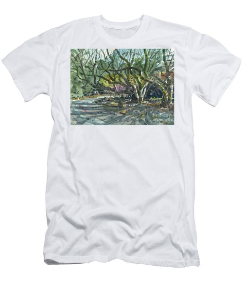 Men's T-Shirt (Slim Fit) featuring the painting Monk Trees Two by Donald Maier