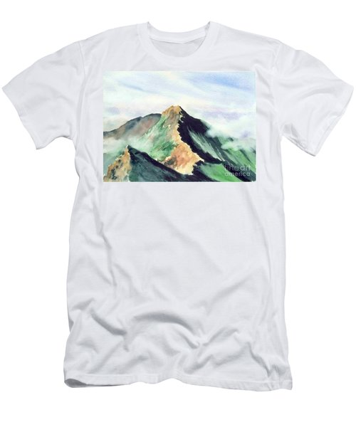 Men's T-Shirt (Slim Fit) featuring the painting Mountain  1 by Yoshiko Mishina