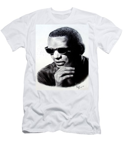 Music Legend Ray Charles Men's T-Shirt (Slim Fit) by Jim Fitzpatrick