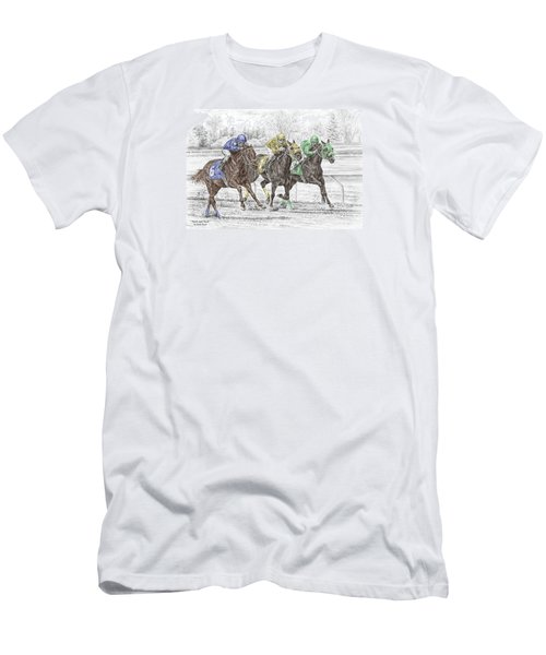 Men's T-Shirt (Slim Fit) featuring the drawing Neck And Neck - Horse Race Print Color Tinted by Kelli Swan