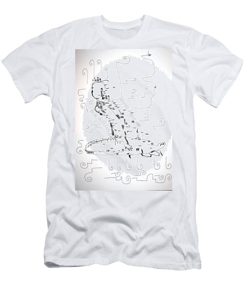 Men's T-Shirt (Slim Fit) featuring the drawing Ngwale Dance - Botswana by Gloria Ssali