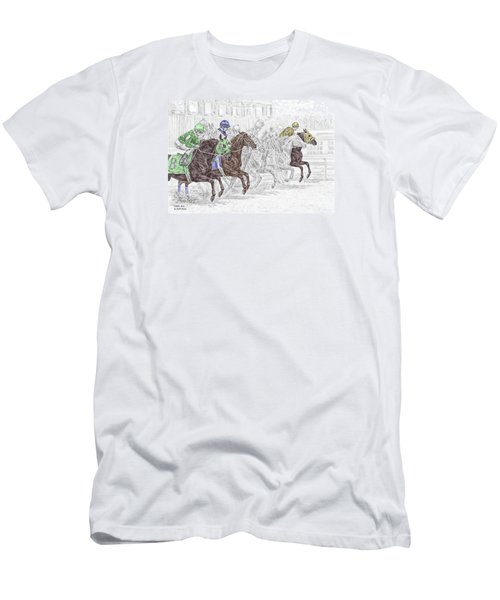 Men's T-Shirt (Slim Fit) featuring the drawing Odds Are - Tb Horse Racing Print Color Tinted by Kelli Swan