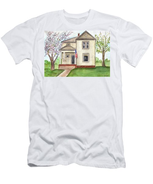 Men's T-Shirt (Slim Fit) featuring the painting Ohio Cottage With Flag by Clara Sue Beym