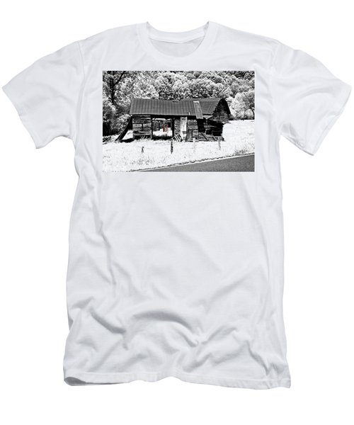 Men's T-Shirt (Slim Fit) featuring the photograph Old Barns With Red Gate by Susan Leggett
