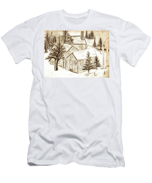 Men's T-Shirt (Slim Fit) featuring the drawing Old Colorado by Shannon Harrington