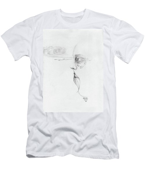 Old Nature Face Black And White Art Looking Into Cloud  L Leaf Beard Fantasy Flower Tear Surreal Men's T-Shirt (Slim Fit) by Rachel Hershkovitz