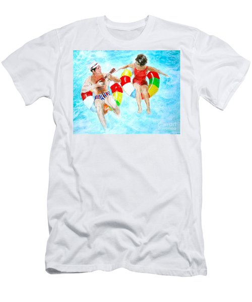 Men's T-Shirt (Slim Fit) featuring the drawing Pool by Beth Saffer