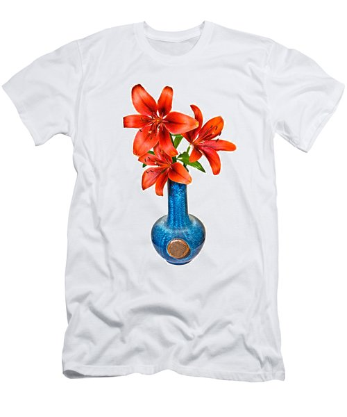 Red Lilies In Blue Vase Men's T-Shirt (Athletic Fit)