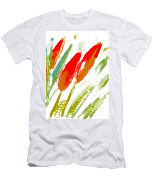 Red Tulips Men's T-Shirt (Slim Fit) by Barbara Moignard