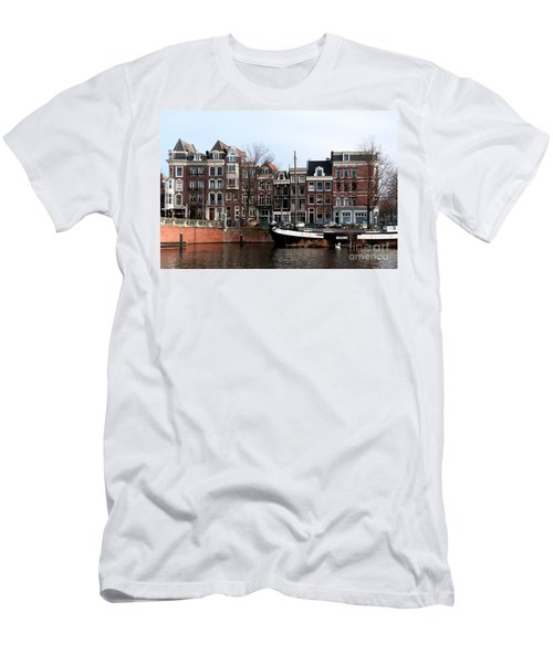 River Scenes From Amsterdam Men's T-Shirt (Slim Fit) by Carol Ailles