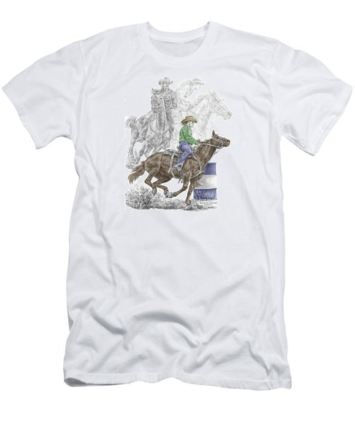 Men's T-Shirt (Slim Fit) featuring the drawing Running The Cloverleaf - Barrel Racing Print Color Tinted by Kelli Swan