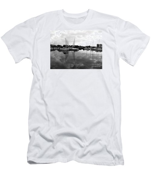 Men's T-Shirt (Slim Fit) featuring the photograph Sailboats At Bluffers Marina Toronto by Susan  Dimitrakopoulos