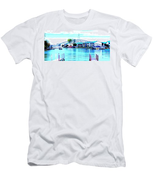 Sandy Beach Bridge Men's T-Shirt (Slim Fit) by Lisa Brandel