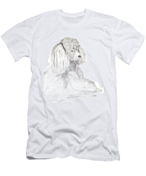 Men's T-Shirt (Slim Fit) featuring the drawing Silver Poodle by Maria Urso