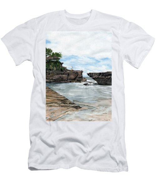 Men's T-Shirt (Slim Fit) featuring the painting Tanah Lot Temple II Bali Indonesia by Melly Terpening