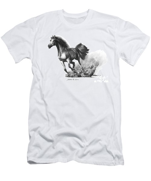 Men's T-Shirt (Slim Fit) featuring the drawing the Race is on  by Marianne NANA Betts