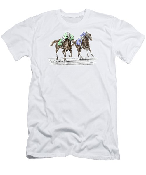 Men's T-Shirt (Slim Fit) featuring the drawing The Stretch - Tb Horse Racing Print Color Tinted by Kelli Swan