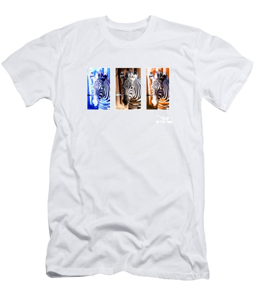 Men's T-Shirt (Slim Fit) featuring the photograph The Three Zebras White Borders by Rebecca Margraf